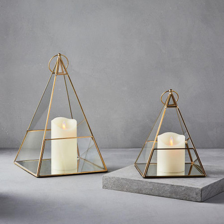 Terrace Pyramid Lanterns - Antique Brass