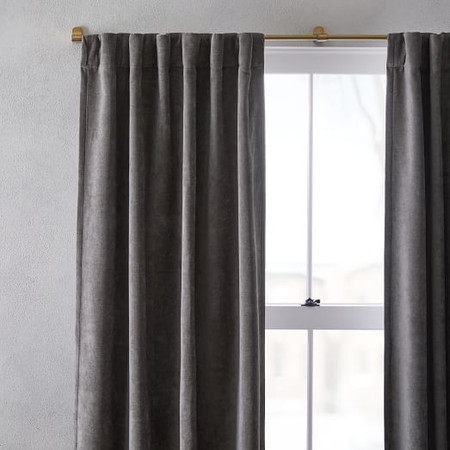 Worn Velvet Curtain + Blackout Lining - Metal