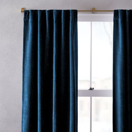 Worn Velvet Curtain & Blackout Lining - Regal Blue