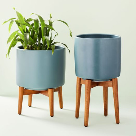 Mid-Century Turned Wood Leg Planters - Blue