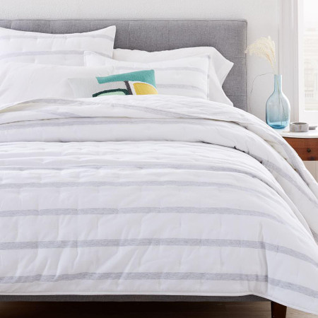 Washed Cotton Percale Reversible Melange Stripe Coverlet