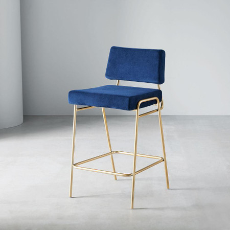 Wire Frame Velvet Counter Stool
