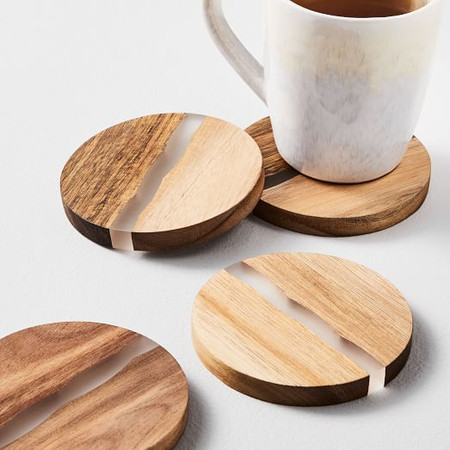 Wood & Resin Coasters (Set of 4)